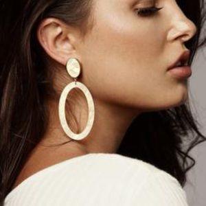 NWT JLUXLABEL Gold Shimmer Moonstone Dangle Earrin